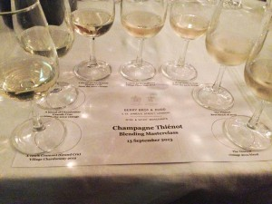 Vin clair tasting to demonstrate the blending of Champagne