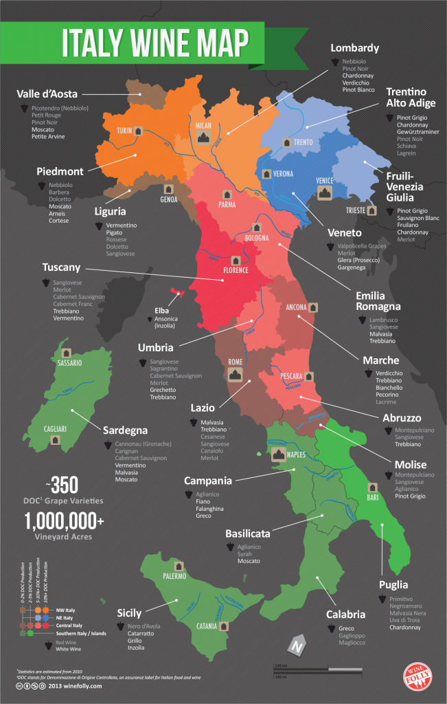 Italian wine regions map by Wine Folly