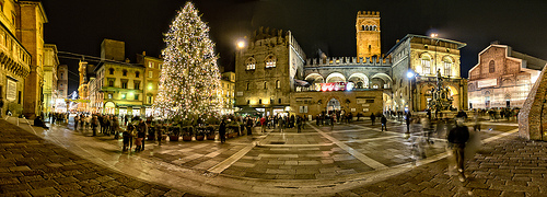 Piazza del Nettuno at Christmas in Bologna by Scott D. Haddow