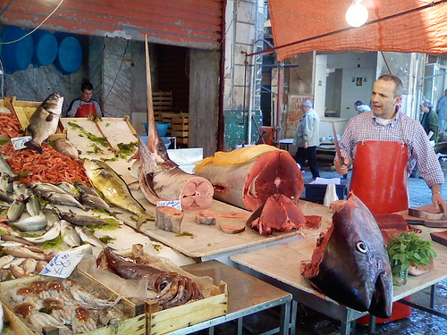 Swordfish and Tuna at La Vucciria Market in Palermo