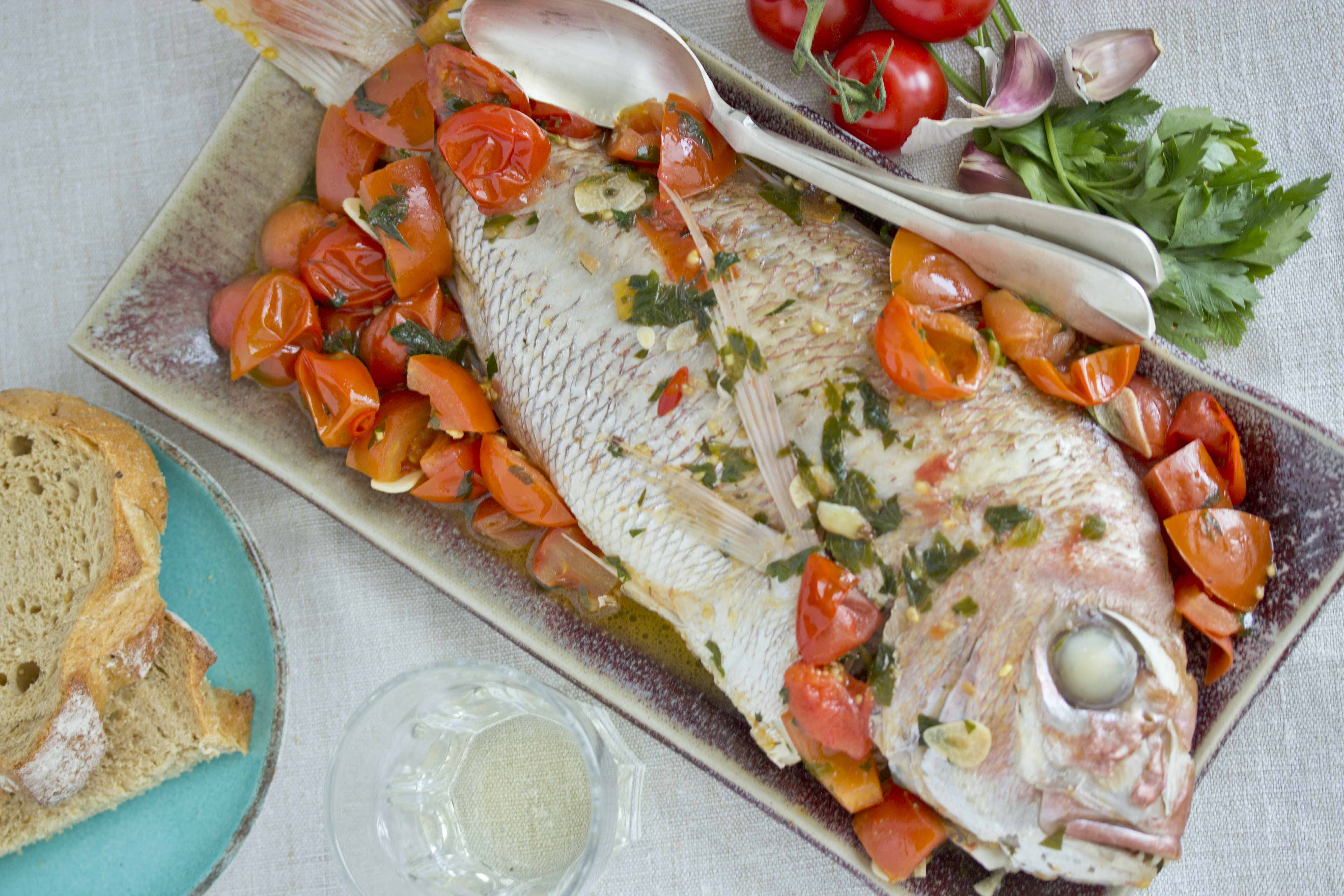 Acquapazza Is A Method Of Stewing Fish In Garlic Oil