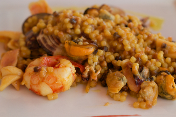 Fregola with seafood