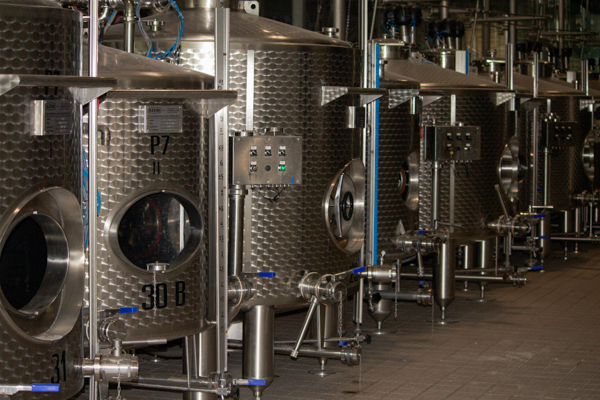 The stainless steel tanks