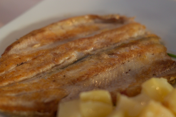 Grilled lavarello (European whitefish)