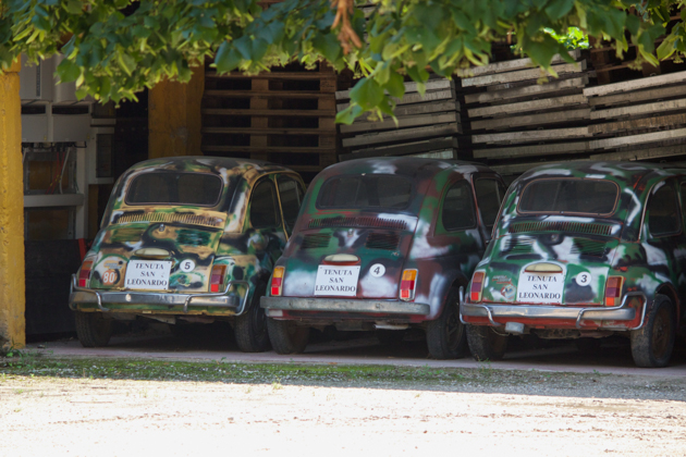 San Leonardo's collection of camouflage coloured Fiat 500s