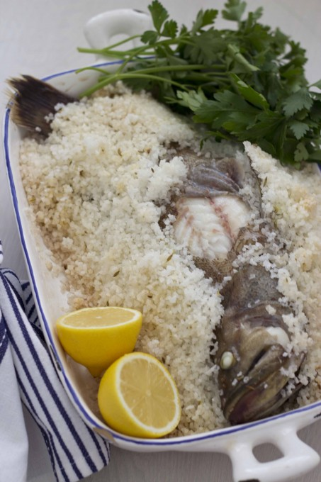 Branzino in sale (sea bass baked in a salt crust)