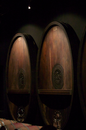 The large wooden barrels