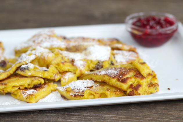 Kaiserschmarrn with lingonberry jam