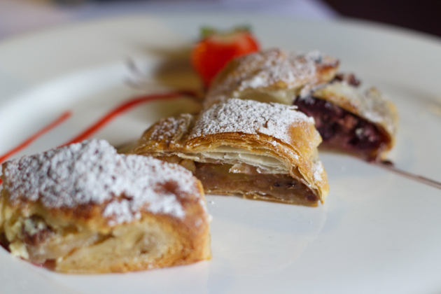 Apple, ricotta and cherry strudels