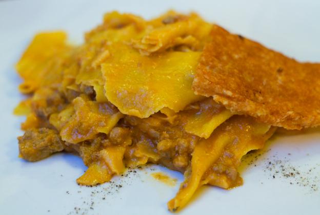 Maltagliati al ragu d'anatra tartufato (fresh pasta with black truffle duck meat sauce)