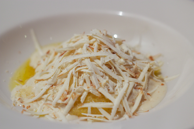 Toc' di braides (soft polenta topped with melted latteria cheese and grated ricotta salata)