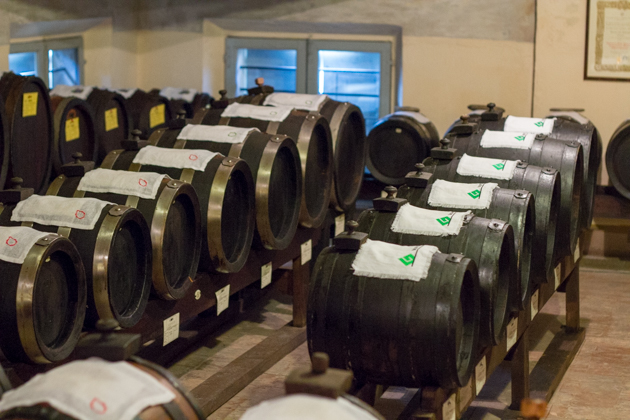 Rows of barrels in order of size
