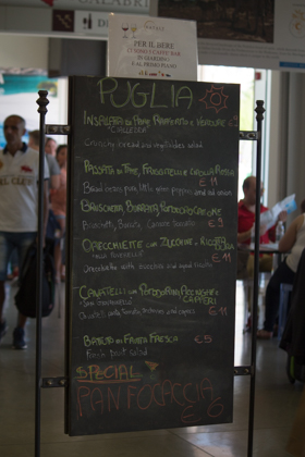 The menu for Puglia's restaurant in Eataly