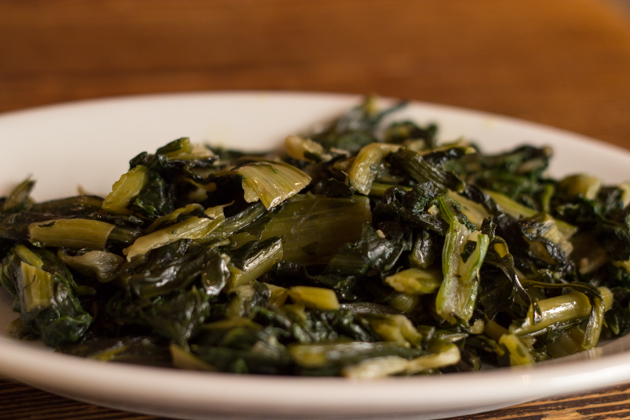 Sauteed greens served with piadine