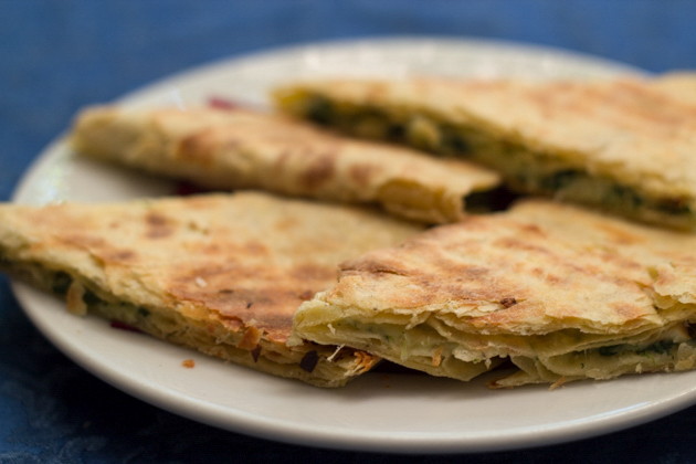 Crescia sfogliata (a flakey flatbread with a selection of fillings from Urbino)