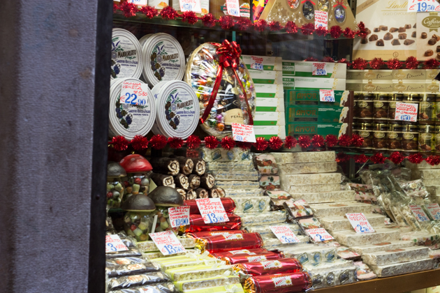 Display window with different sweets at Drogheria Mascari