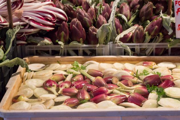 Local artichokes being sold prepared at the Rialto market