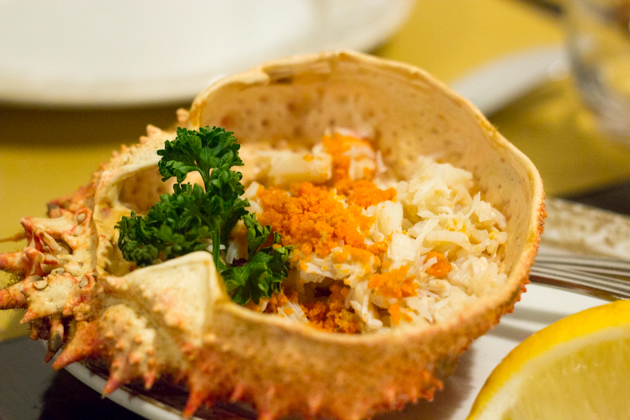 Granseola al vapore (steamed spider crab)