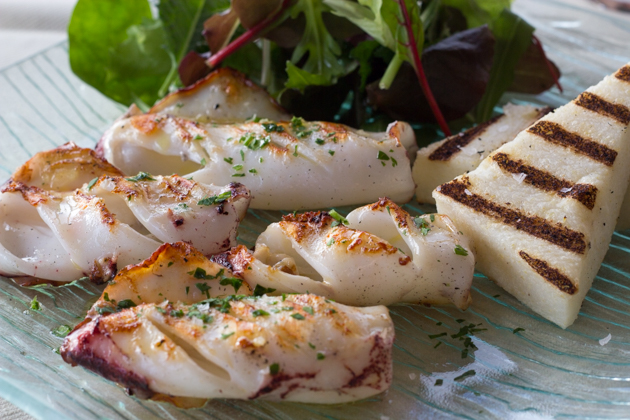 Grilled squid and polenta