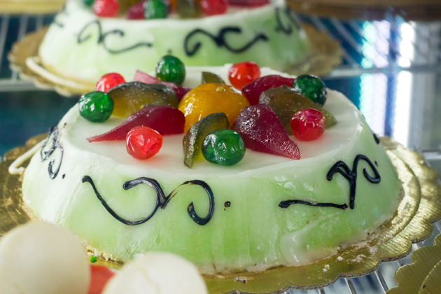 Cassata (sponge cake sandwiching ricotta and encased in marzipan and candied fruit)