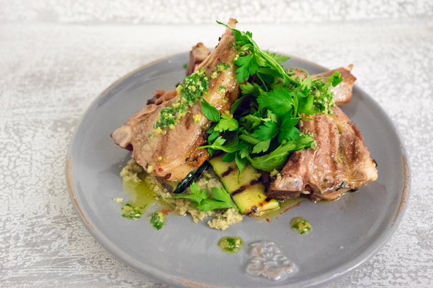 Lamb chops with salsa verde