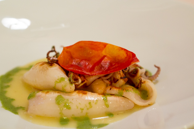 Calamari con patate e pesto (squid with potatoes and pesto)
