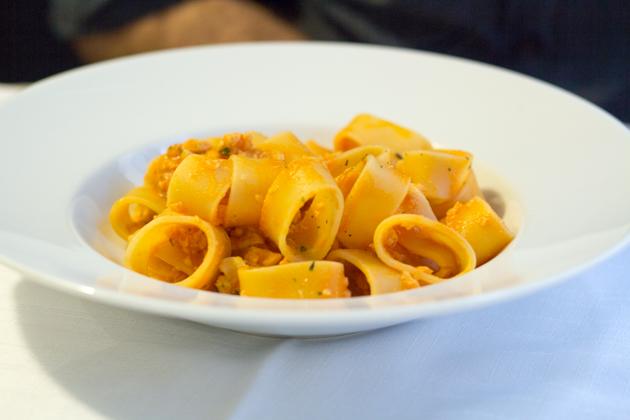 Paccheri con ragù di luccio e pesce persico (paccheri in pike and perch ragù)