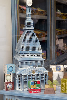 The Mole Antonelliana, a major landmark in Turin housing a cinema museum, in miniature