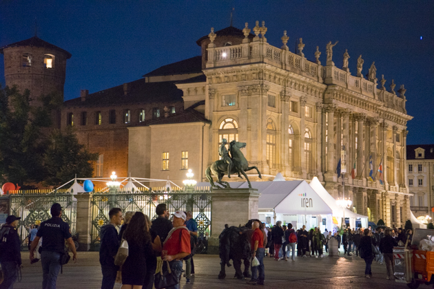 The Slow Food tents in front of the Royal Palace, Palazzo Madame and Piazza Castello