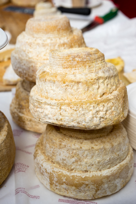 Montebore cheese (a rare cow and ewe's milk cheese shaped like a wedding cake which was created by Benedictine monks in the 12th century)