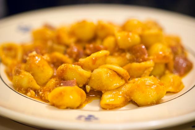 Orecchiette carnevalesca with ricotta fresca, ragu, salami piccante