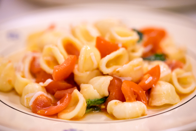 Orecchiette with fresh tomato, basil, caciocavallo