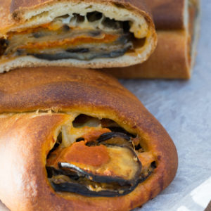Bread filled with aubergine Parmigiana (eggplant Parmesan)