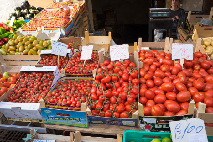 Tomatoes for sale in the market in Siracusa