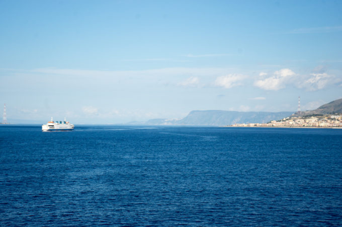 Crossing the Straits of Messina from Sicily to Calabria