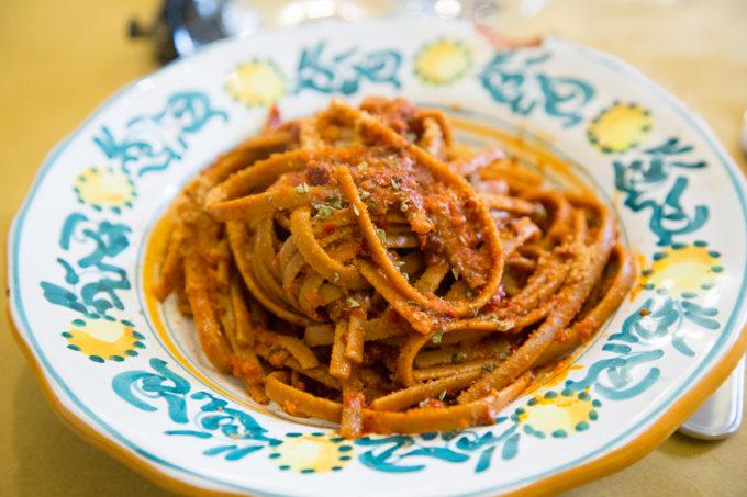Stroncatura pasta alla 'nduja (pasta with 'nduja)