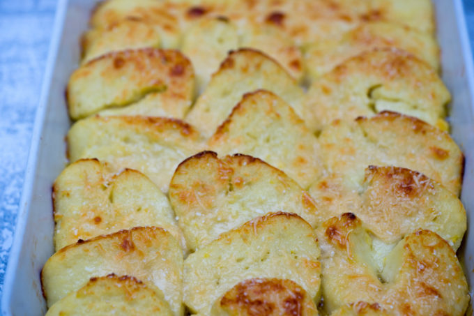Gnocchi all romana (semolina slices baked with Parmigiano-Reggiano) -Lazio