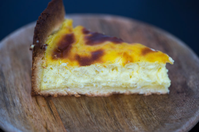 Warm creamy, custardy rice tart