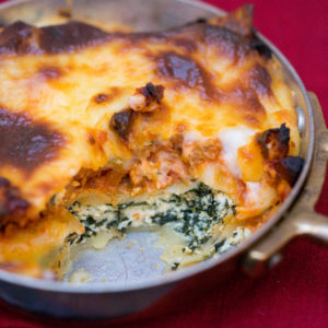 Cannelloni- baked pasta tubes filled with ricotta and spinach