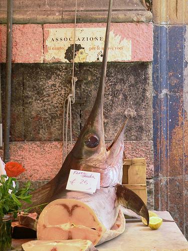 Swordfish in La Vucciria Market in Palermo