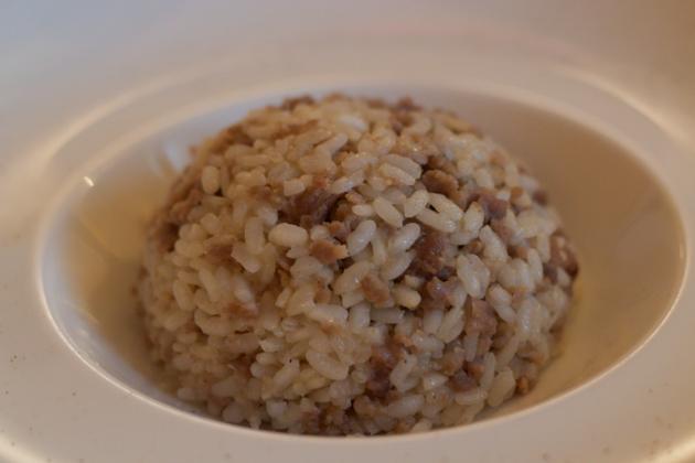 Risotto con salamella Mantovana (risotto with sausage)