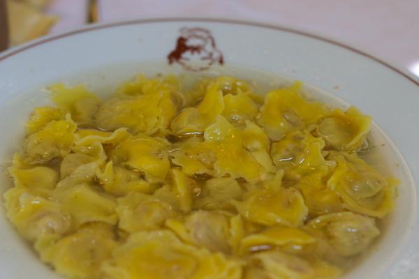Agnoli in brodo (meat filled pasta in broth)