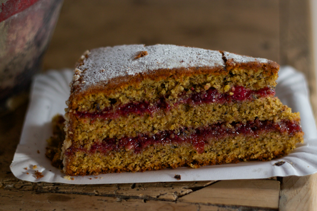 Torta di grano saraceno (buckwheat cake layered with lingonberry jam)