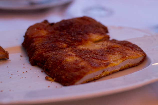 Cotoletta alla parmigiana (chicken breaded in a Parmesan crust and fried)