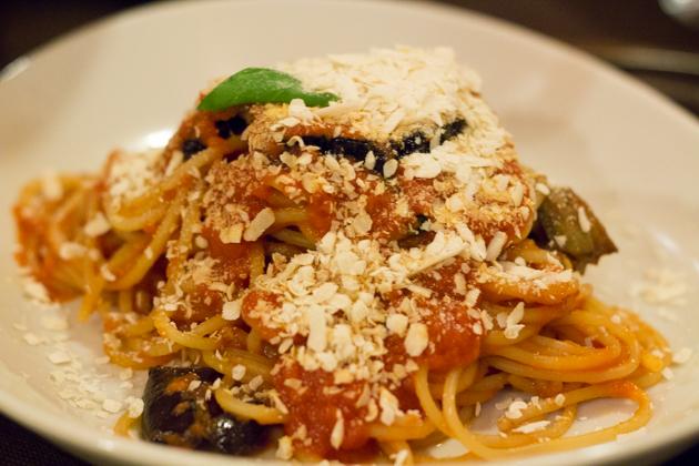Pasta alla norma (pasta with aubergine, ricotta salata cheese, tomato and basil)