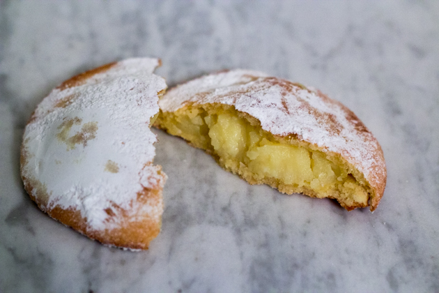 Maria Grammatico's Genovese (a large pastry ravioli filled with custard)