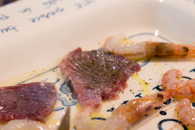 Langoustine and tuna sashimi sprinkled with Sicilian oregano, <em>Salamarigghiu</em>