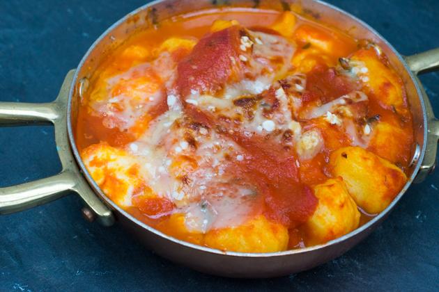Gnocchi alla sorrentina (potato dumplings baked with tomato sauce and mozzarella)