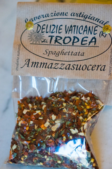 """A dried mixture of chillies and herbs to add to pasta, this one is called """"mother-in-law killer"""""""