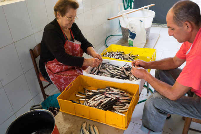 Cleaning anchovies at Fanfulla Rosa